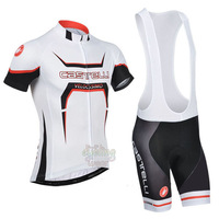 Free Shipping!MEN'S NEW Team Cycling Short Sleeve Jersey+BIB SHORTS Bike Clothes Bicycle Clothes 2014 CASTE* RED&WHITE BLACK SZ: