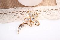 rhinestone brooch pin ,gold plating flower booch pin ,crystal brooch , item LX-1369
