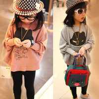 2014 spring and autumn batwing sleeve girls clothing baby child long-sleeve sweatshirt outerwear