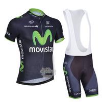 Free Shipping!MEN'S NEW Team Cycling Short Sleeve Jersey+BIB SHORTS Bike Clothes Bicycle Clothes 2014 MOVIST** BLUE&GREEN SZ: