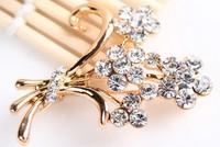rhinestone brooch pin ,gold plating flower booch pin ,crystal brooch , item LX-2722