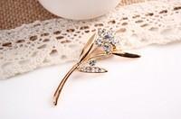 rhinestone brooch pin ,gold plating flower booch pin ,crystal brooch , item LX-1284
