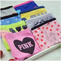 Hot 6pcs/lot  Women Floral Dot Letter Printed 100%Cotton  Briefs Low Waist Cute Panties Women  Underwear  Free Shipping 56Color