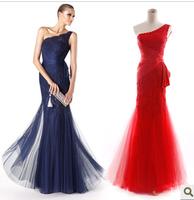 2014 wedding formal dress slim fish tail red long design one shoulder evening dress bridal evening dress