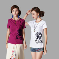 National trend women's 2014 spring and summer printing flock print slit neckline slim short-sleeve T-shirt WFS297
