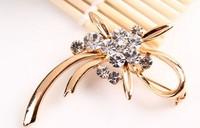 rhinestone brooch pin ,gold plating flower booch pin ,crystal brooch , item LX-1350