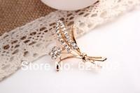 rhinestone brooch pin ,gold plating flower booch pin ,crystal brooch , item LX-2724