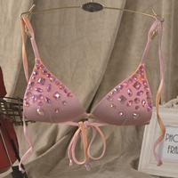 free shipping Colorful crystal sexy bikini swimwear triangle cup lacing women's swimwear