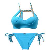 free shipping Sky Blue sexy beach bikini swimwear women's metal decoration hot spring swimsuit