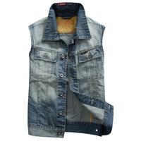 2014 men's sleeveless jean short jacket jeans vest motorcycle jeans men bule jeans vest