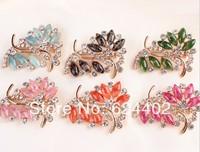 rhinestone brooch pin ,gold plating flower booch pin ,crystal brooch mix colors  ,4.8*4.2cm  item LX-1222