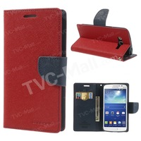 Red Mercury Fancy Diary Wallet Style Leather Stand Case For Samsung Galaxy Grand 2 Duos G7102 G7100 G710S G7106 Free Shipping