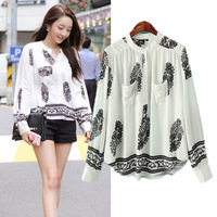 2014 vintage print pullover loose casual all-match T-shirt fashion female top