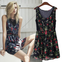 Fashion patchwork 2014 chiffon lace sleeveless slim waist flower one-piece dress elegant female one-piece dress
