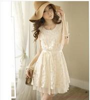 Free shopping 2014 Summer New Fashion Pearl Collar Lace Decor Cute Sweety Mini Sleeveless floral Dress