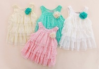 infant baby girls lace dresses children clothing for autumn -summer kids princess flower tutu dress 4colors free shipping