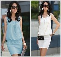 2014 Summer Korean Women OL Chiffon Sleeveless Dress Crew-neck short dress Cozy Vest Summer 4 Colors S-XL Freeshipping