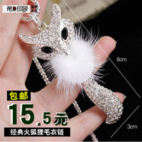 All-match necklace fox long design fashion crystal long design necklace female