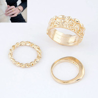 Free Shipping!  European Fashion Punk Retro Personality Exaggerated Metal Gold Ring(Three Pcs/Set) For Women Jewelry C215
