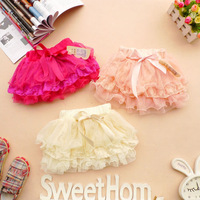 2014 Summer Baby Girls TUTU Skirts Children Lovely Bow Lace Cake Skirt 3 Colour Free Shipping