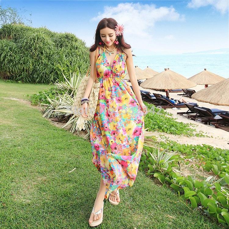 deep V-neck Thigh High Side Split Top Dresses 2015 Summer Ladies floral print long Chiffon dress Boho halter neck Sundress(China (Mainland))