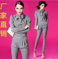 Fashion 2014 spring new arrival female elegant bow shirt trousers slim uniform casual set