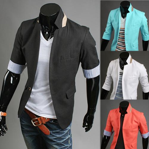 2014 suit fashion male slim three quarter sleeve small suit jacket(China (Mainland))