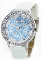 Mini world new 2014 brand fashion watch lily flower rhinestone leather strap elegant women business dress quartz watch