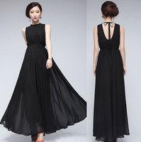 Free shipping fashion leisure women plus size chiffon posed chiffon dress sleeveless two color four yards temperament bohemia