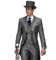 M17 2014 New Design Morning style Peak Lapel Groom Tuxedos Groomsmen Men's Wedding Suits Best man Suits (Jacket+Pants+Vest+Tie)