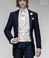 M18 2014 2014 Navy Blue One Button Groom Tuxedos Best Man Notch Lapel Groomsmen Wedding Suits Bridegroom (Jacket+Pants+Tie+Vest)