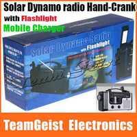 10pcs/lot Black Emergency Solar Hand-Crank Dynamo radio Outdoor Emergency Flashlight + thermometer + mobile charger + SW /AM /FM