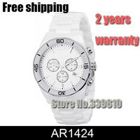 Free Ship New woman Ceramic White Chronograph Dial Quartz Watch AR1424 1424 Swis Quartz Movement Gents Wristwatch +Original Box