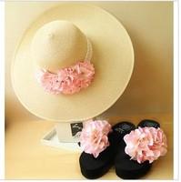 Free Shipping hot summer beach Sandals flowers Platform wedge med heels Flip Flops Slippers Shoes for women,6 colors