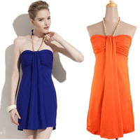 2014 TOP Fashion Summer Colorful Pearl Neckline Ladies Dress Sexy Backless Women Dresses Beach Women Skirt Dress Clothes