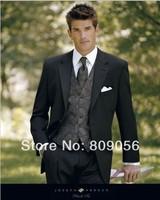 M94 (jacket+pants+vest+tie) new black single breasted notch lapel bridegroom Tuxedo Groom formal prom Wedding business Suit