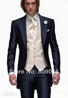 M03 new Navy Blue One Button Groom Tuxedos Man Peak Lapel Groomsmen Men Wedding Suits Bridegroom (Jacket+Pants+Tie+Vest)