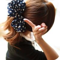 Fashion lady women hair jewelry cute colorful fabric dot bowknot hair rope  SHR243