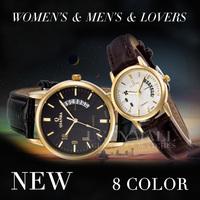 New 2014 Women's & Men's & lovers Unisex casual leather strap quartz relogios lady waterproof luxury brand fashion dress watches