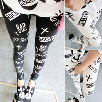 173 a47 HARAJUKU ktz cross vintage wings slim elastic legging