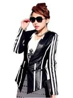 Original design Trend 2015 New Black And White Stripe V-Neck  Suit  Leather Clothing , Plus Size Korean Female Coat  M-XXXL