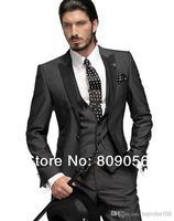 G01 black One button notch lapel bridegroom Tuxedo Groomsmen Wedding/business Best Man Suit formal prom(Jacket+Pants+tie+vest)