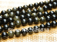 Freeshipping wholesale (2 strands/lot) natural 10mm gold obsidian round stone beads for bracelet