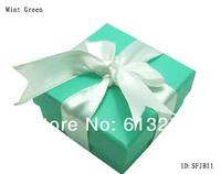 Customized Mint Green Jewelry Set Box Jewel Case Ribbon Gift Box. Free Printing Logo. Min. Order 500pcs  ID: SFJB11