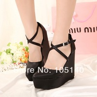 black fashion wedges high heels ankle strap sandals for women 2014 ladies platform pumps summer shoes woman buckle