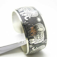 Retro Elephants Flowers Tibetan silver Women Men Open Cuff Adjustable Bracelet  wholesale 10pcs < 5 Pair Antique Bracelets