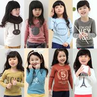 2014 spring and autumn spring cartoon letter girls clothing child long-sleeve T-shirt tx-2415 basic shirt