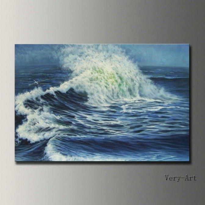 handmade pintura a óleo seascape paisagem em ondas de oceano da lona arte da parede imagem para decoração de casa presente original frete grátis(China (Mainland))