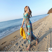 New Fashion Bohemia Style Slim V Collar Gallus Long Dress Sexy Summer Holiday Beach Dress Free Shipping