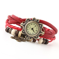 Ladies Watches Vintage Butterfly Pendant Women Dress Watch Bronze Multilayer Bracelets Wristwatches Casual Clock women Sale 2014